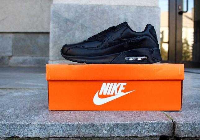 (636) Кроссовки Nike Air Max 90 (41-46) - черные, кожа, найки