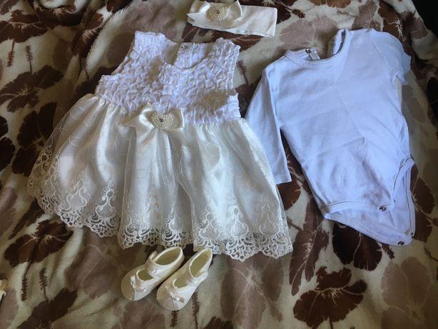 Крестильный набор для девочки (платье, бодик, топики и повязка) 2-5мес