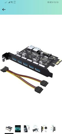 Pci expansion card 7 ports usb 3 5 external +2 internal+sata adapter