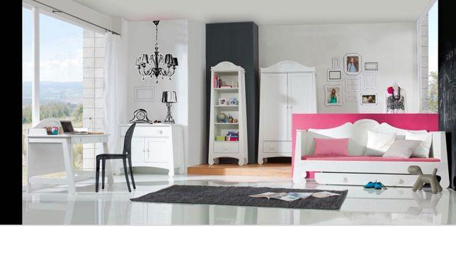 Meble dziewczęce białe szafa komoda regał biurko Pinio Parole zestaw
