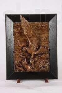Картина «Орел с лисой» резьба дуб