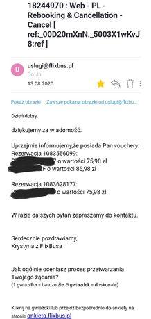 3 Vouchery do FlixBus o wartości 237,94 zł (2x 75,98 zł, 1x 85,98 zł)