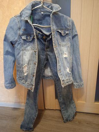 Джинсовый костюм для мальчика 12лет.новый.