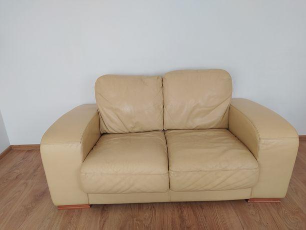 Skórzana sofa kanapa beżowa