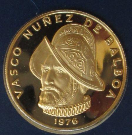 Złota moneta Panama 1976 Vasco Nunez de Balboa