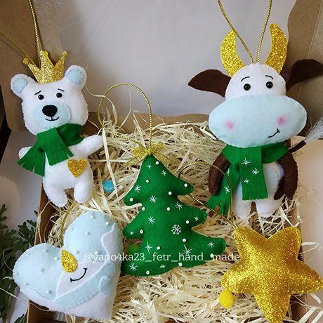 Новорічний набір іграшок, новогодний набор, игрушки