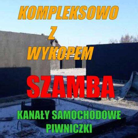 Betonowe Zbiorniki-Szamba, piwnice, kanały  Kompleksowo z wykopem