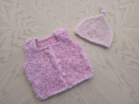 Вязаный набор для малыша/ ребенка, жилетка и шапка