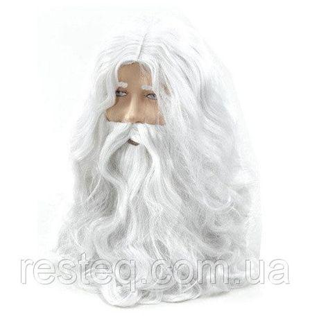 Белый парик Иисуса или Деда Мороза с бородой и усами, волнистые волосы