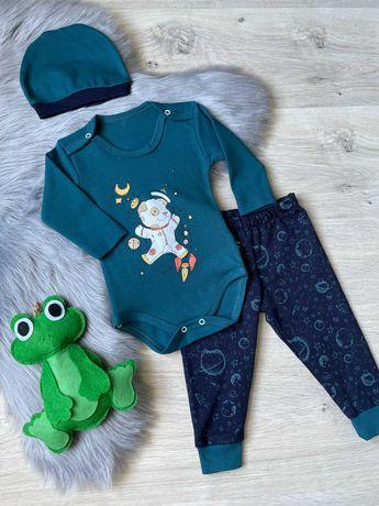 Комплект бодик и штаны и шапка на малыша, набор на новорожденного