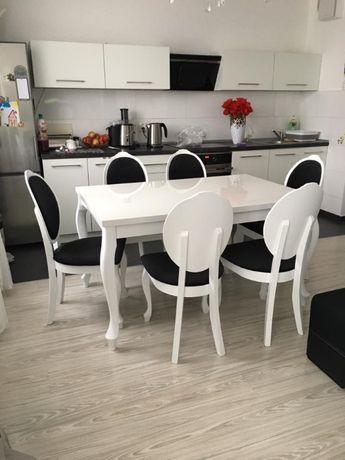 Piękny Zestaw Sofia Biały Połysk stół i krzesła do salonu lub jadalni!