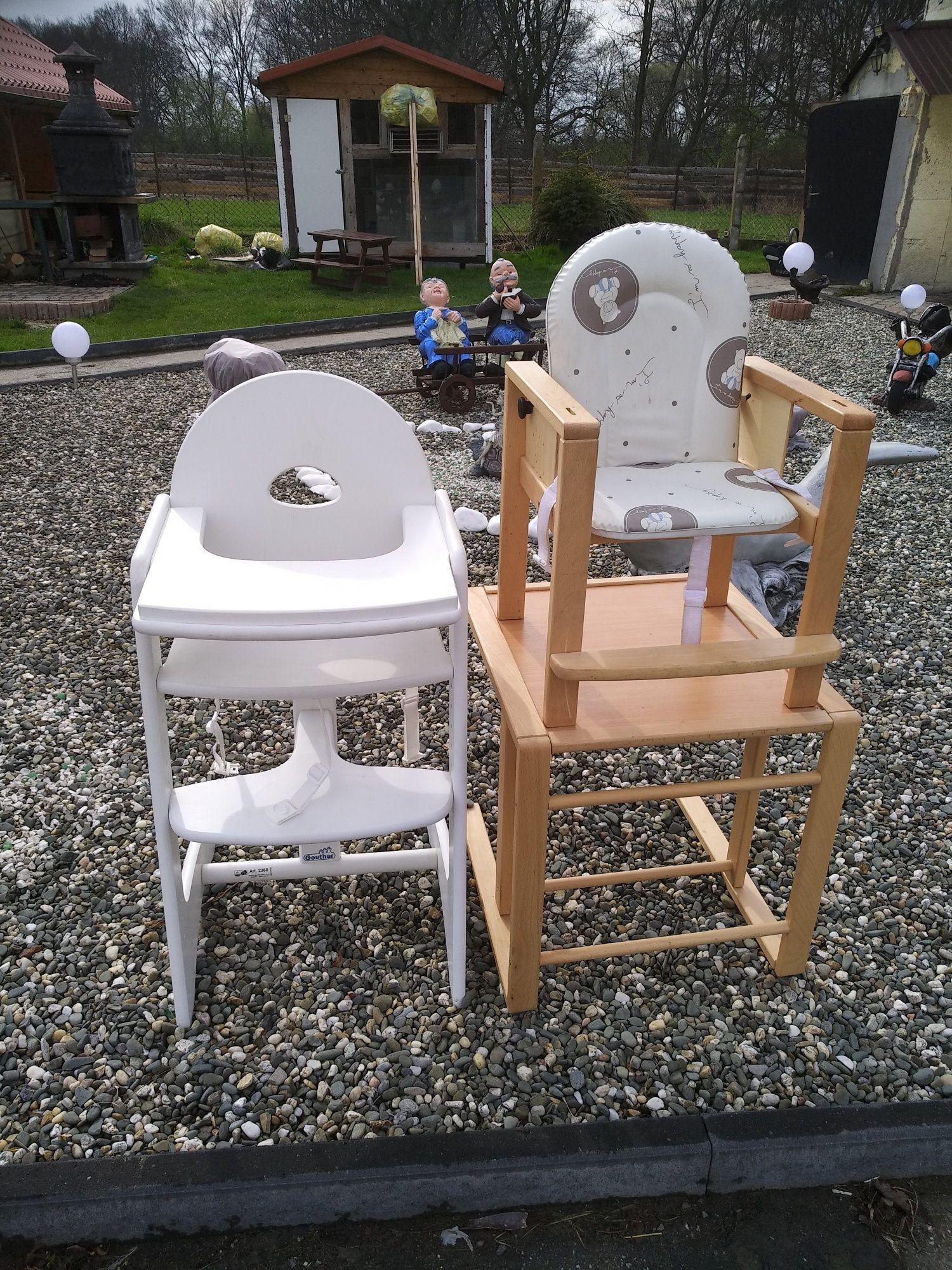 Krzesło do karmienia 2w1 całe z drewna