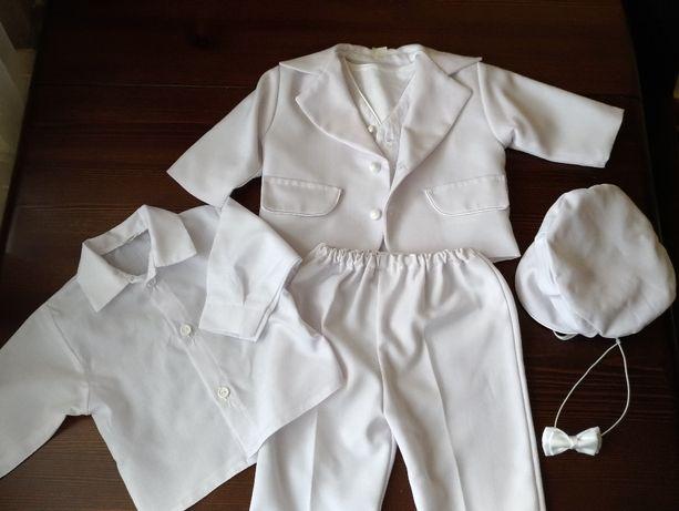 Biały garnitur-ubranko do chrztu dla chłopca, rozm 68/74