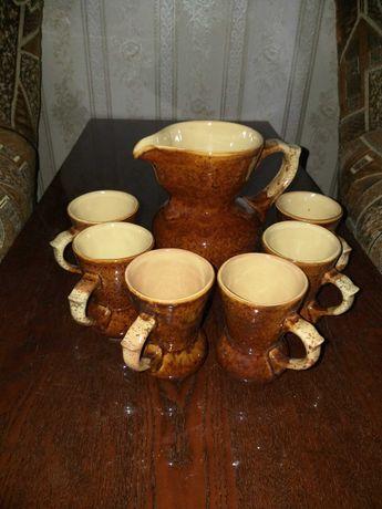 Кувшин и 6 стаканов керамика