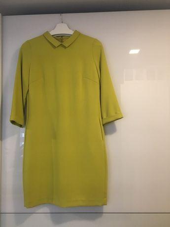 Aggi Limonkowa sukienka z kieszeniami