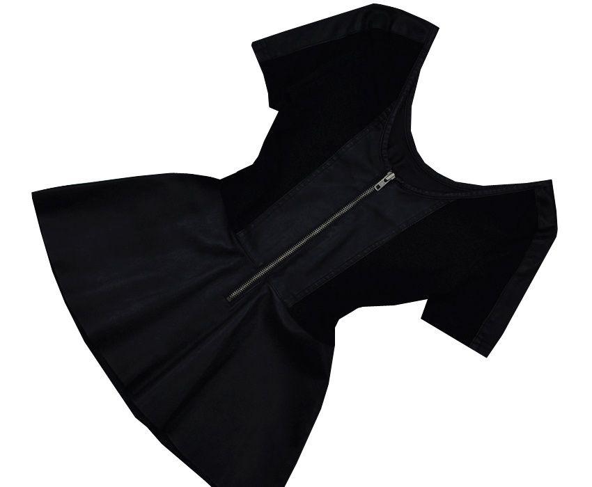 SKÓRZANA bluzka z BASKINKĄ czarna zip zamek skóra 34 XS Świdnik - image 1