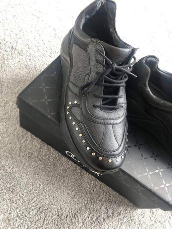 Ochnik sneakersy  czarne skórzane.