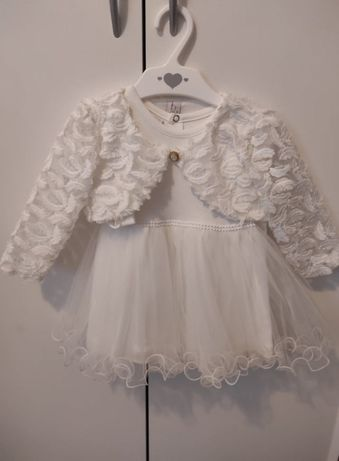 Ubranie do chrztu sukienka buciki bolerko