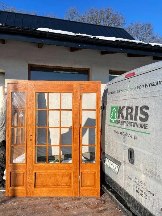 Drzwi drewniane DWUSKRZYDŁOWE jeśion kolor dąb NA WYMIAR CAŁY KRAJ Grzybno - image 1