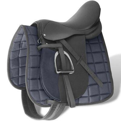 """Sela p/ equitação 17,5"""", couro natural 12cm Preta **envio grátis**"""