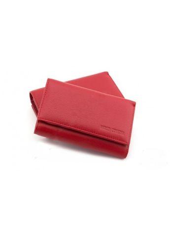 Красный небольшой кожаный кошелек с фиксацией на магнитах MARCOCOVERHA