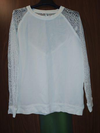 Biała bluzka, koronka M, długi rękaw