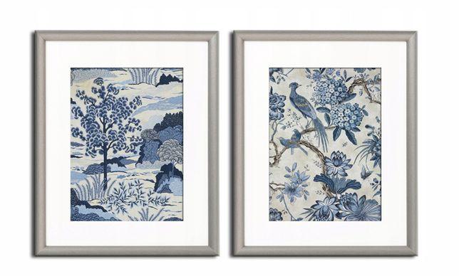 Kolonialne obrazy, eleganckie niebieskie KOMPLET 2 sztuki
