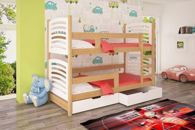 Nowoczesne łóżko piętrowe 2 osobowe Olek ! Drewniane łóżko piętrowe