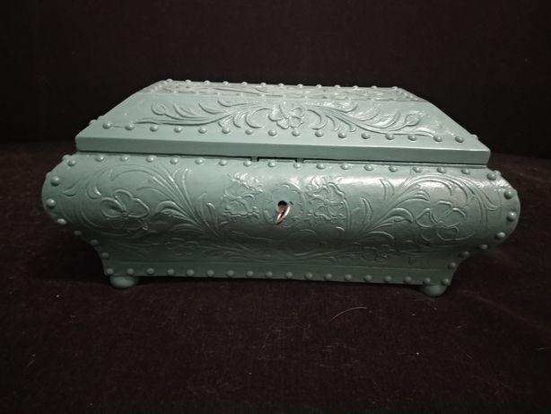 Baú porta jóias azul turquesa