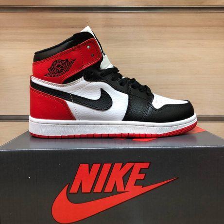Air Jordan 1 retro Black Toe Джордан черно-бело-красные 36-46