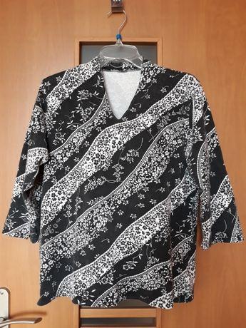 Bluzka czarna - biała, wzór ukośne fale, wzorki, kwiatki, rozmiar 44