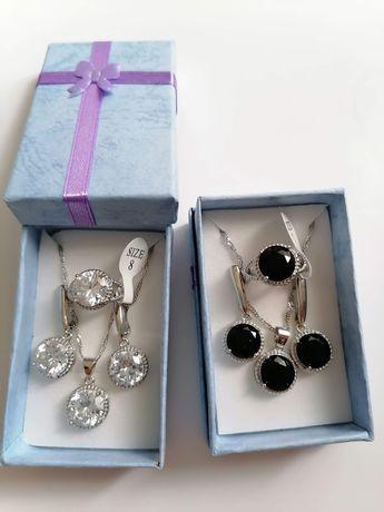 Komplet biżuterii pierścionek srebrny, kolczyki, łańcuszek i wisiorek