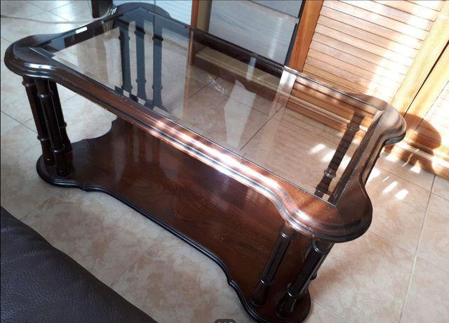 Mesa em Madeira de Mogno e Tampo de Vidro (medidas na descrição)