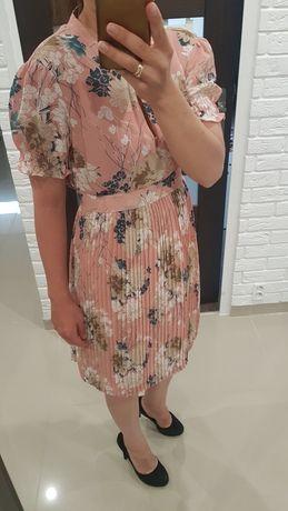 Sukienka plisowana top secret 34 xs różowy różowa kwiaty
