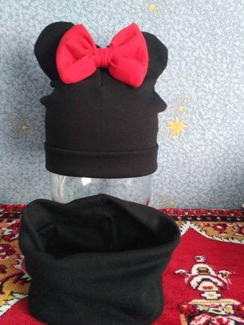 Трикотажный комплект шапка Минни и хомут хлопок для девочки