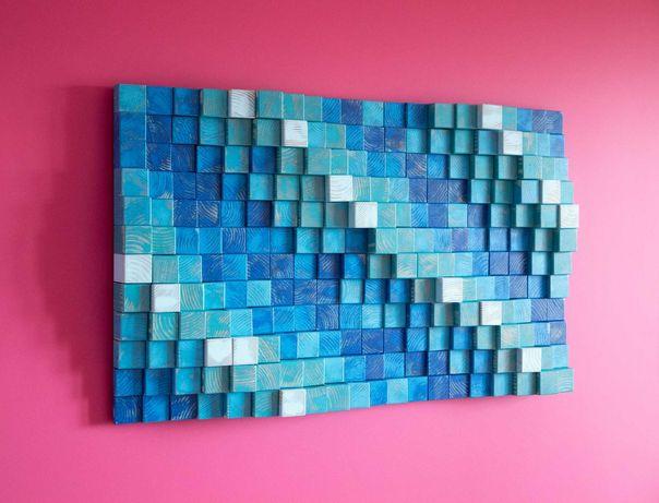 Картина декор из дерева в современный интерьер минимализм