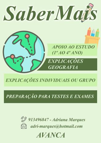 Apoio ao estudo 1º ciclo e Geografia