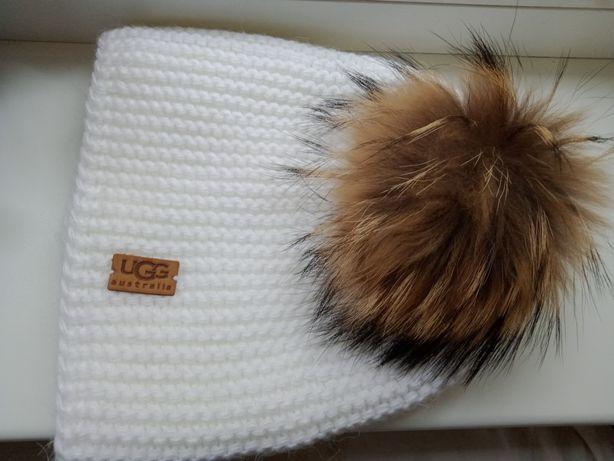 Помпон бубон на шапку натуральный