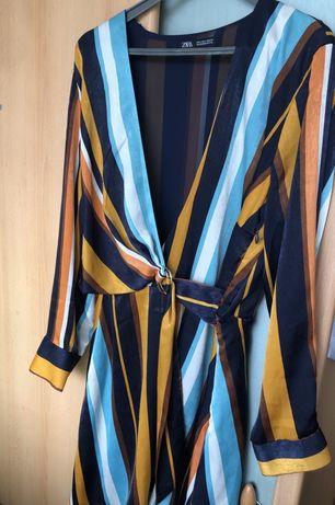 Sukienka paski zara wiazana v neck kopertowy dekolt