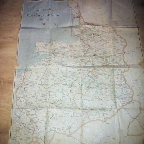Mapa Danzig - Gdansk 1916r oryginal