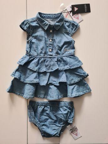 Sukienka Guess 12m z majteczkami jeans  nowa kolekcja 80 86