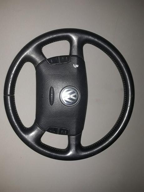 Kierownica skórzana multifuncyjna vw passat b5 fl kompletn airbag