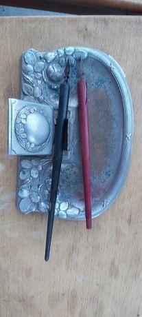 Tinteiro antigo em prata com canetas recarregaveis 20euros