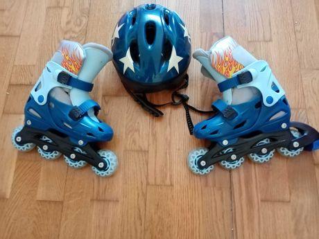 Patins + capacete para criança 30/33