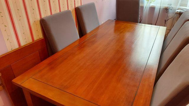 | Duży | Solidny Stół drewniany z dostawką + 6 krzeseł |