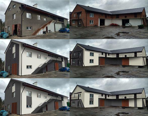 Projekt elewacji wizualizacja / wizualizacje 3D / projekt kostki płotu