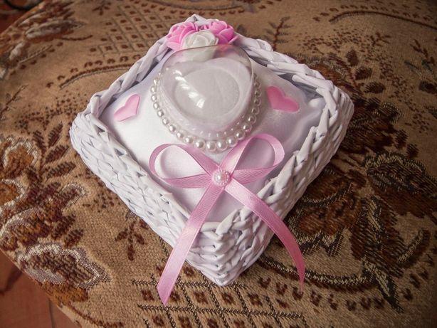 Kwadratowy koszyk/pudełko/szkatułka na obrączki- Ślub