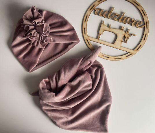 Komplet turban chusta welur 50-53cm