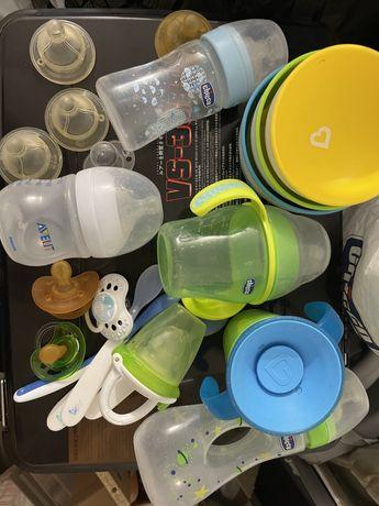 Бутылочки, соски, поильник, тарелки на присоске