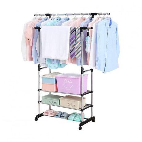 Вешалка стойка для одежды напольная двойная телескопическая 80х38х160